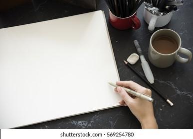 Artist Drawing Illustration Black Marble Table