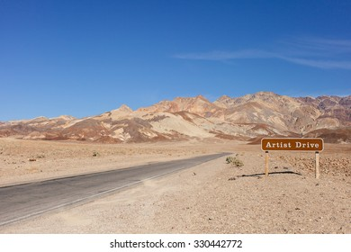 Artist Drive road signpost leading to the Black Mountains, Death Valley, California