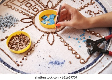 Artist, Mosaic Tools, Hand Craft, Uses Tweezers To Make Mosaic, Close Up