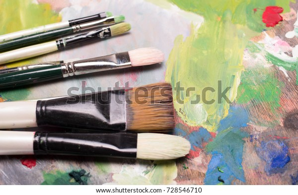 Artist Paint Brushes Oil Paint On The Arts Backgrounds