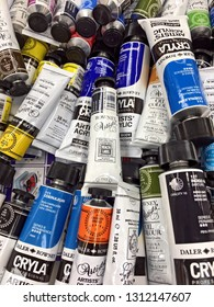 Artist paint tubes background - editorial, Eastbourne, England, 12 February 2019