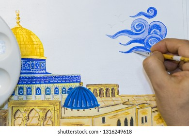 Artist painting a picture of Jerusalem. Miniature of Golden Dome of the Rock. Masjid al-Aqsa.