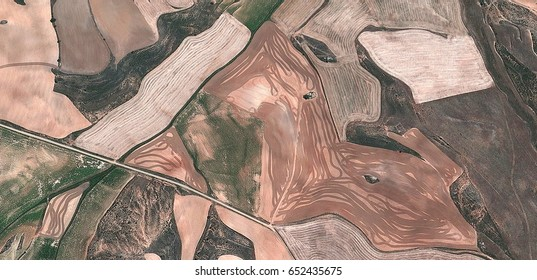 the artist,allegory, tribute to Matisse, Picasso, abstract photography of the Spain fields from the air, aerial view, representation of human labor camps, abstract, cubism,abstract naturalism