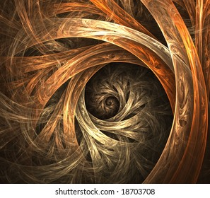 Artistic Abstract Background -  Flowing layered ribbons of browns blending into spiral effect