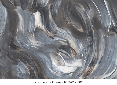 Artistic abstract painting in grey and white colours. Brush stroke texture. Acrylic background