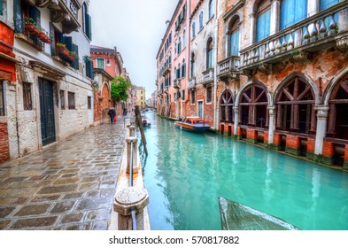 Artistic architecture of home, near the canal in Venice - Italy