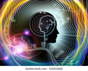 Artistic background made of human feature lines and symbolic elements for use with projects on human mind, consciousness, imagination, science and creativity