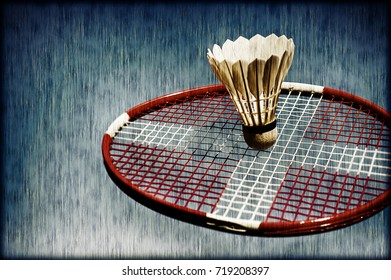 Artistic badminton racket with Danish flag and shuttlecock. Badminton memory from my sport.