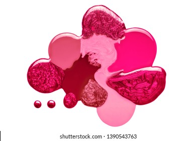 Artistic blend of different shades of pink and crimson nail polish in fused blobs giving an abstract globular form isolated on white in a fashion and beauty concept. Top view abstract design