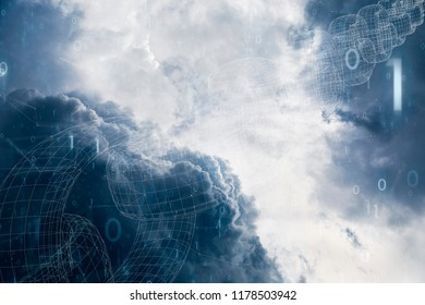 Artistic blockchain chain on dramatic cloudy sky background.