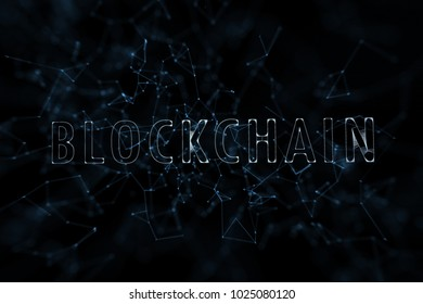 Artistic blockchain cloud word on abstract dark blue background with lines and triangle shapes illustration.