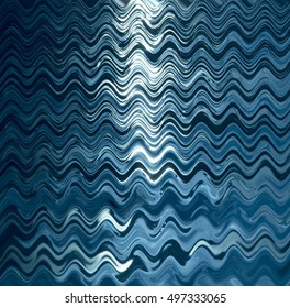 Artistic blue aqua pattern on black with shapes, stripes and waves