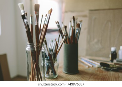 Artistic brushes. Bunch of artist paintbrushes.