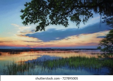 """""""Artistic Carolina Sunrise"""" Original photographic image captured in Beaufort County, South Carolina, at sunrise over Port Royal Sound's tidal marshes. Artistic touches  added in post-processing."""