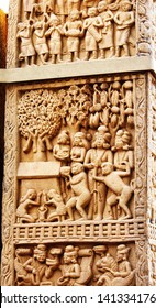 Artistic carving at the North Gate - Sanchi Stupa, Bhopa, India. Beautiful golden light at sunset.