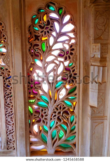 Artistic carvings windows walls city palace stock photo edit now