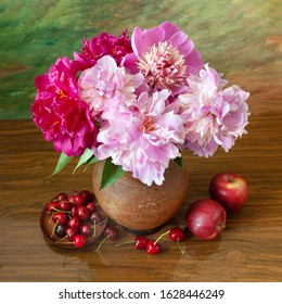 Artistic classic still life with red and pink peony bouquet and fruits