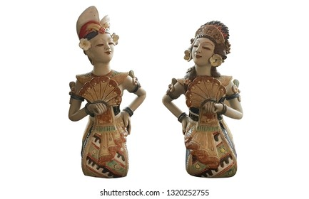Artistic Classy Old Cultural Traditional Javanese Indonesian Stone and Metal Statue for Home Interior Decoration in White Isolated Background