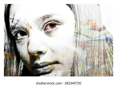 Artistic Collage Portrait of a Young Caucasian Woman in White with a Colorful Abstract Painting Overlay