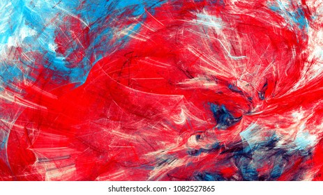 Artistic color motion composition. Abstract beautiful red and blue background. Modern futuristic cool painting texture. Fractal artwork for creative graphic design