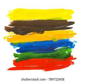 Artistic colorful watercolor brush strokes isolated on white