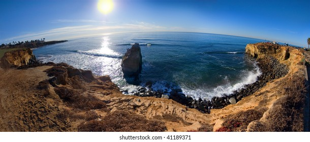 An artistic compilation of multiple images at Sunset Cliffs San Diego, California near sunset