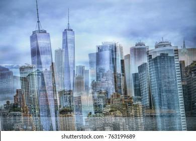 Artistic composition double exposure New York city skyline
