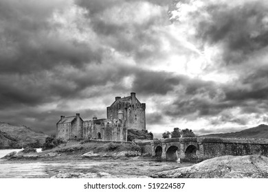 Artistic conversion of the Eilean Donan castle in the Scottish highlands with dramatic clouds