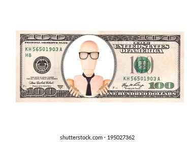 Artistic dollar bill with wooden Dummy  president background