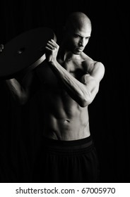 Artistic Fitness on a black background, Low key