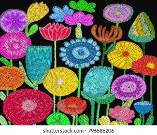 An artistic flower arrangement done in dot painting style.