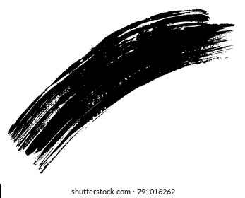 Artistic freehand black paint, ink or acrylic hand made creative brush stroke background isolated on white as grunge or grungy art spray effect, education abstract elements dark frame design