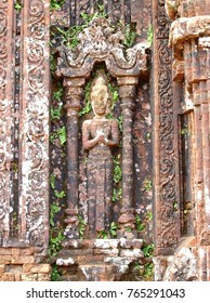 artistic graved stones crafted ornaments around ruins landmark architecture complex, the MY SON ancient HINDUISM and BUDDHISM religious ritual building, a world cultural heritage place in VIETNAM