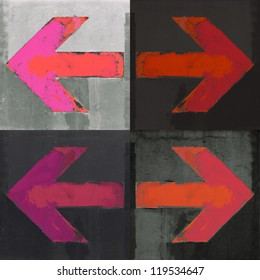 Artistic grunge design arrows set, four arrow signs painted on a wall