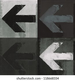 Artistic grunge design monochrome arrows set, four arrow signs painted on a wall.