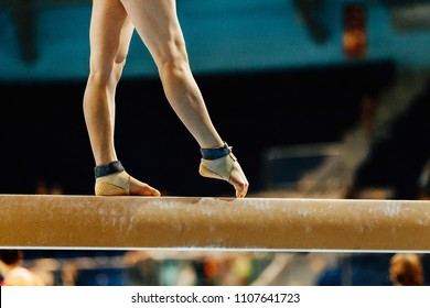 artistic gymnastics legs women gymnast exercises on balance beam