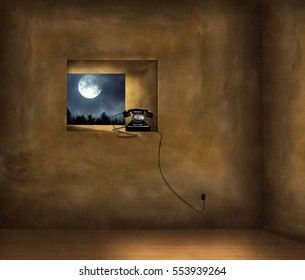 Artistic Image of a dark room with a window on a forest with the full moon and an old black phone on the windowsill