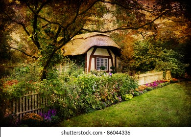 Artistic image of an enchanted English style cottage in the woods
