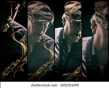 Artistic image of a male saxophonist playing his instrument