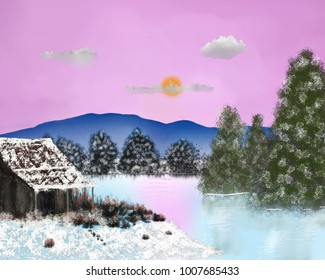 An artistic image of an old cabin with reflections on a frozen lake in winter.