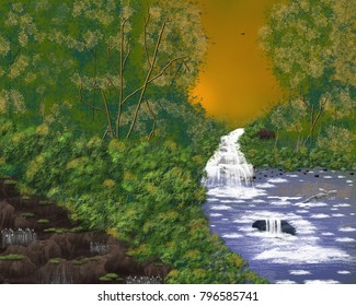 an artistic image of a quiet stream through the forest.