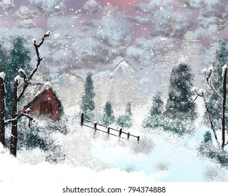 An artistic image of a winter scene with an old cabin during a light snowfall.
