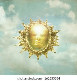 Artistic imagine of a baroque sculpture of representing the sun in the cloudy sky in the background