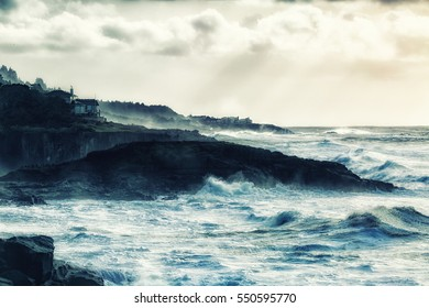 Artistic impression and rendering of rough and rugged Oregon Coast.  Photograph has been intentionally manipulated to present a vintage, painterly effect.