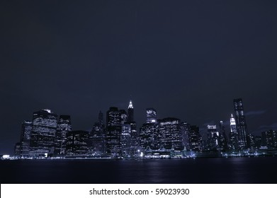 An artistic impression of the skyline of downtown Manhattan