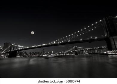 An artistic interpretation of Brooklyn and Manhattan Bridges in New York City