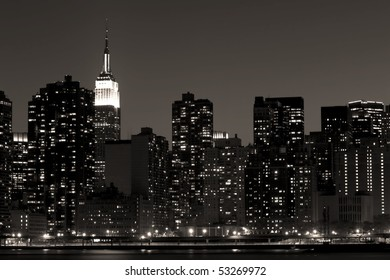 An artistic interpretation of the skyline of midtown Manhattan including the Empire State Building