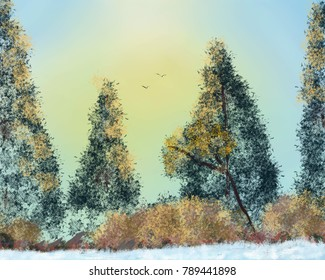 An artistic landscape image of fall foliage in the forest.