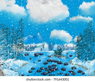 An artistic landscape image of a frozen lake with boulders.