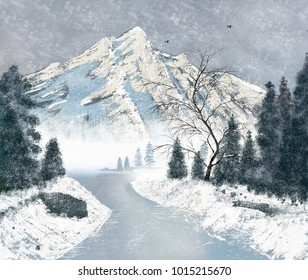 An artistic landscape image of Mountains and forest on a snowy day.